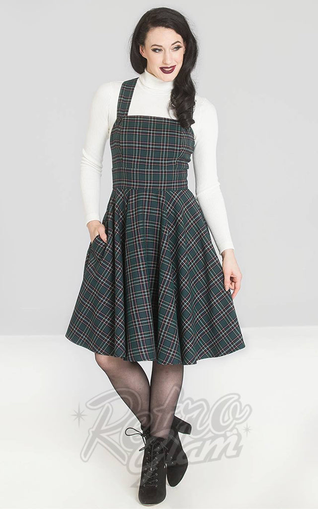 Hell Bunny Peebles Pinafore Dress in Green Plaid