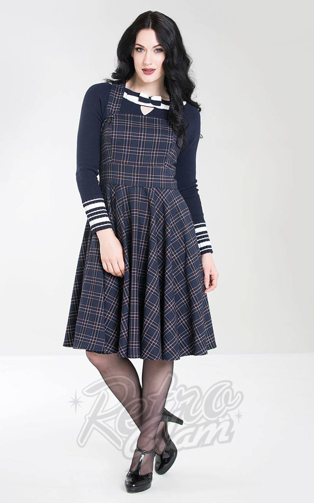 Hell Bunny Peebles Pinafore Dress in Navy Plaid