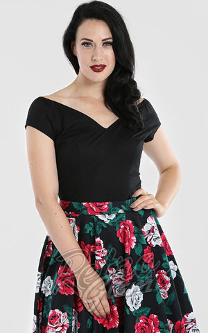Hell Bunny Petunia Top in Black