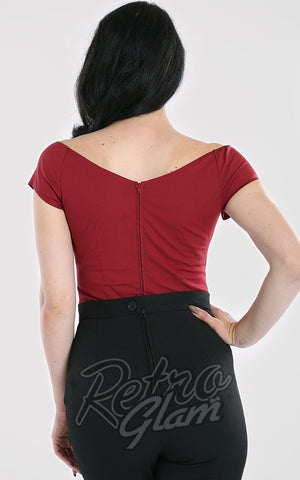 Hell Bunny Petunia Top in Burgundy back