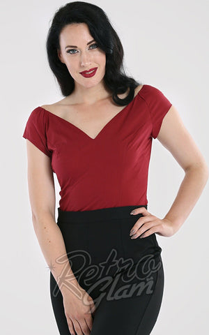 Hell Bunny Petunia Top in Burgundy