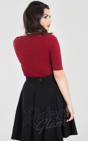 Hell Bunny Philippa Top in Burgundy back