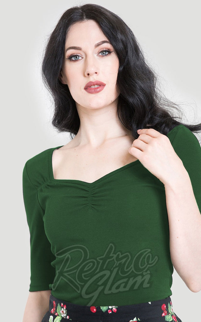 Hell Bunny Philippa Top in Green