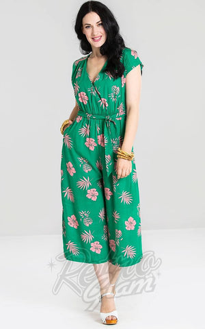 Hell Bunny Pineapple Jumpsuit in Green
