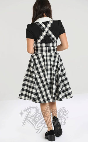 Hell Bunny Victorine PInafore Dress in Black & White Gingham back