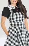 Hell Bunny Victorine PInafore Dress in Black & White Gingham detail
