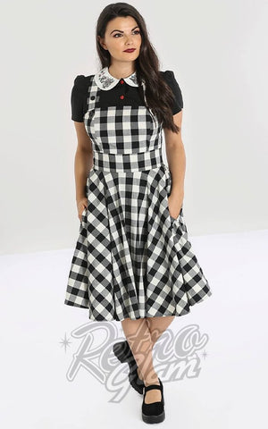 Hell Bunny Victorine PInafore Dress in Black & White Gingham