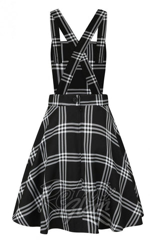 Hell Bunny Piper PInafore Dress in Black & White Plaid back