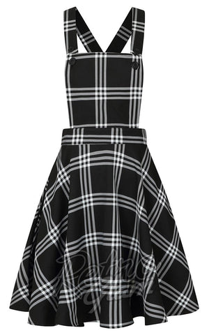 Hell Bunny Piper PInafore Dress in Black & White Plaid