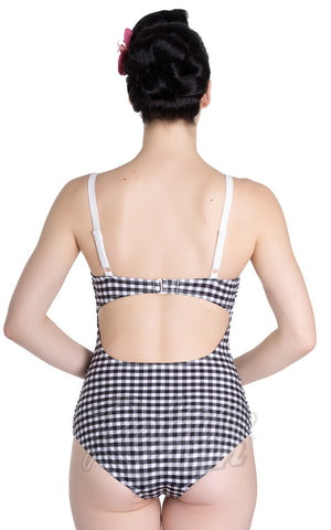 Hell Bunny Sammi Swimsuit in Black & White Gingham back