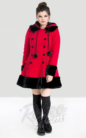 Hell Bunny Sarah Jane Coat in Red retro