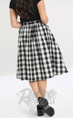 Hell Bunny Victorine 50s Skirt in Black & White Gingham back