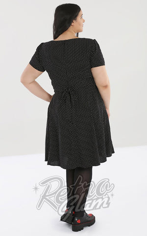 Hell Bunny Sophia Dress in Black & White Pindot back