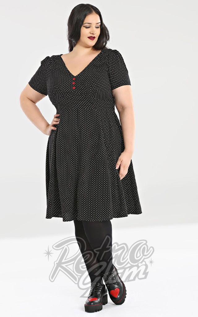 Hell Bunny Sophia Dress in Black & White Pindot