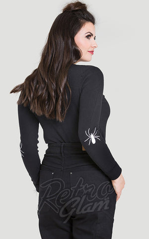 Hell Bunny Spider Cardigan in Black back