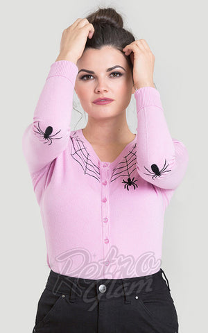 Hell Bunny Spiderweb Cardigan in Pink