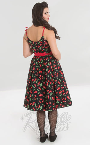 Hell Bunny Sweetie 50's Dress in Black Cherry Print back