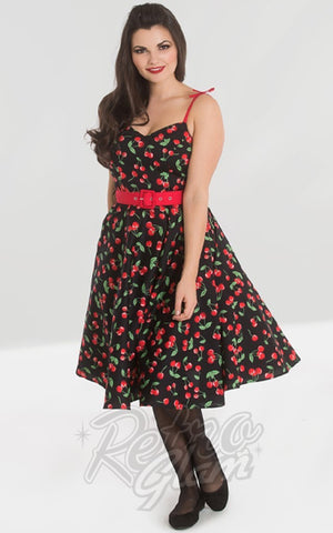 Hell Bunny Sweetie 50's Dress in Black Cherry Print
