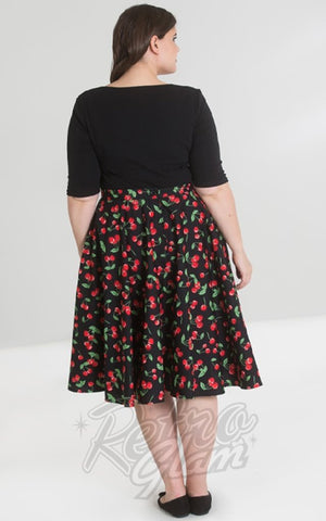 Hell Bunny Sweetie 50s Skirt in Black Cherry Print curvy back