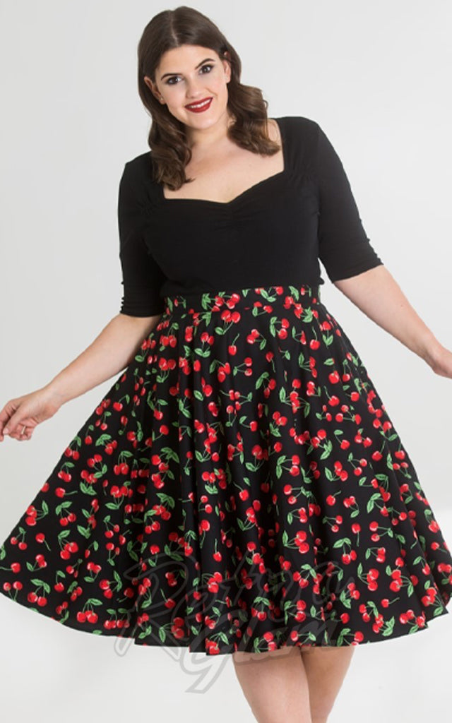 Hell Bunny Sweetie 50s Skirt in Black Cherry Print