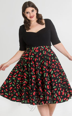 Hell Bunny Sweetie 50s Skirt in Black Cherry Print curvy