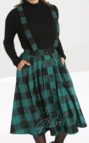 Hell Bunny Teen Spirit Pinafore Skirt in Black & Green detail