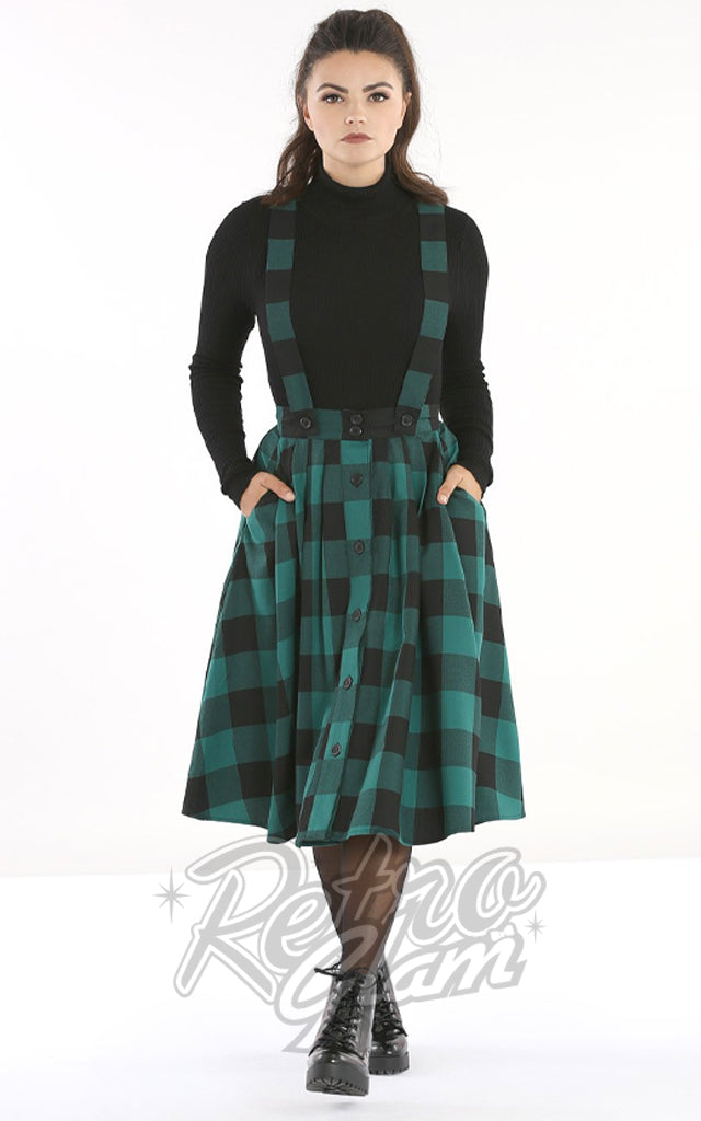 Hell Bunny Teen Spirit Pinafore Skirt in Black & Green Plaid