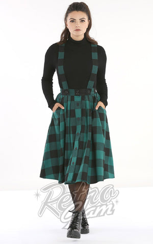 Hell Bunny Teen Spirit Pinafore Skirt in Black & Green