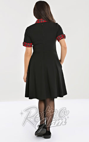 Hell Bunny Tiddlywinks Mid Dress in Black back