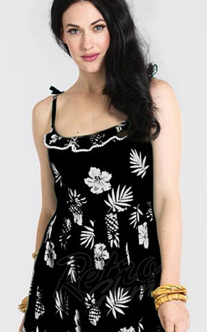 Hell Bunny Pineapple Tropicana Dress in Black detail