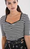 Hell Bunny Warlock Top in Black & White Stripes detail