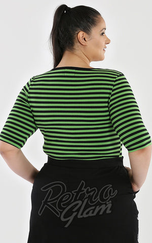 Hell Bunny Warlock Top in Black & Green Stripes curvy back