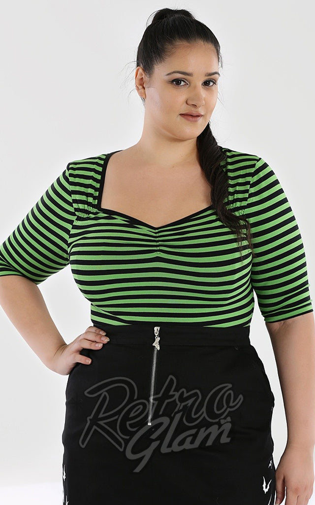 Hell Bunny Warlock Top in Black & Green Stripes