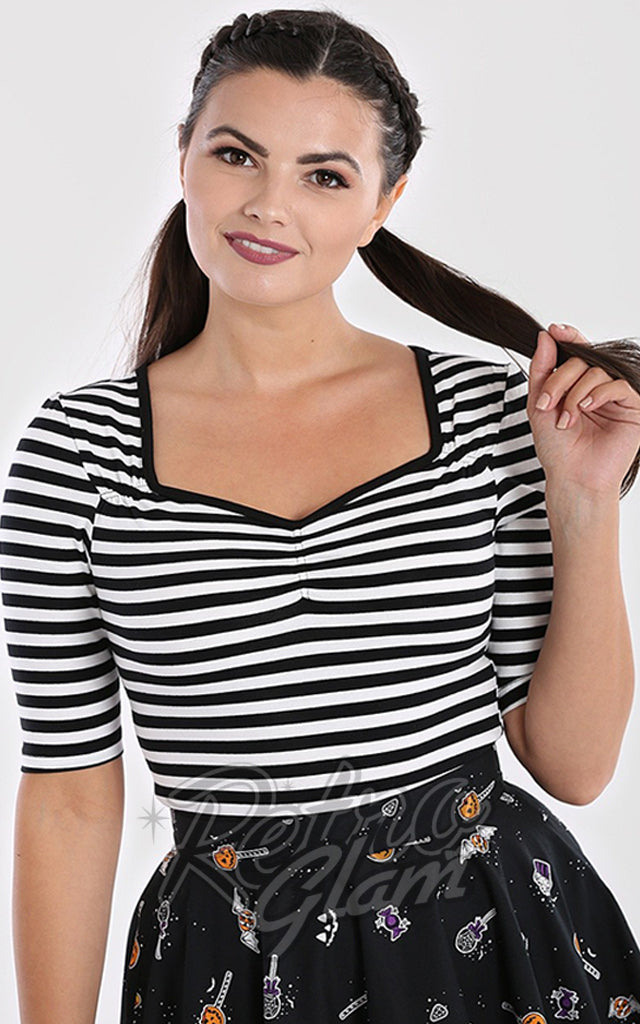 Hell Bunny Warlock Top in Black & White Stripes
