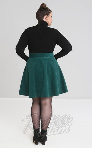 Hell Bunny Wonder Years Mini Skirt in Green curvy back