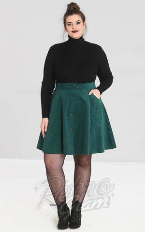 Hell Bunny Wonder Years Mini Skirt in Green curvy