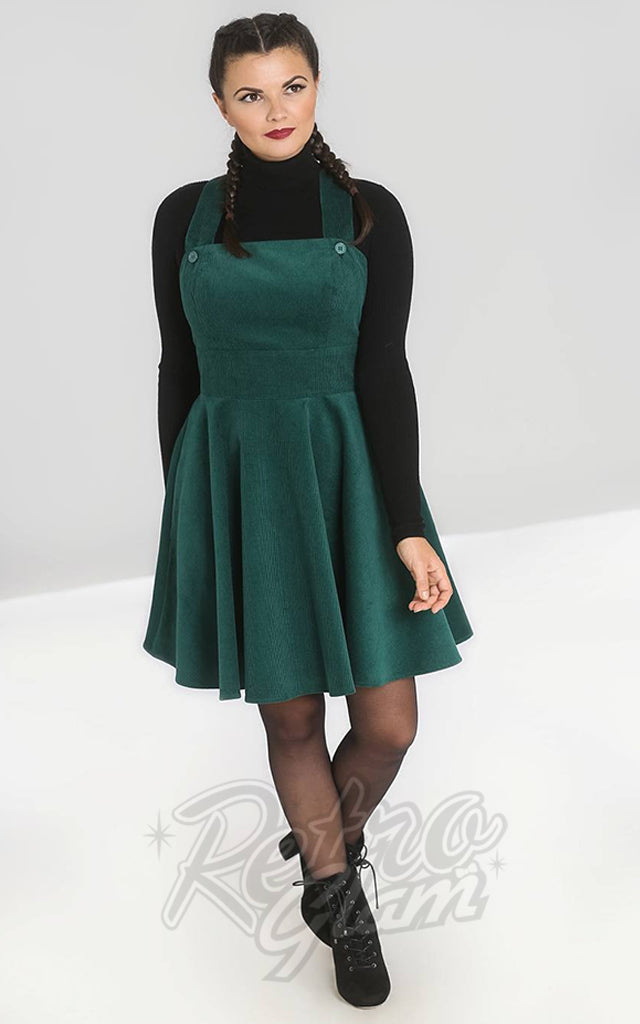 Hell Bunny Wonder Years PInafore Dress in Green Corduroy