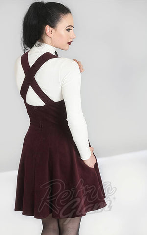 Hell Bunny Wonder Years PInafore Dress in Wine Corduroy back