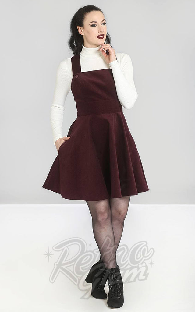 Hell Bunny Wonder Years PInafore Dress in Wine Corduroy