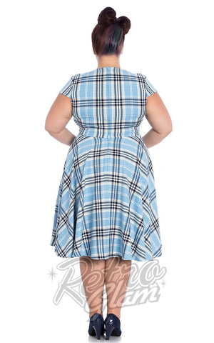 Hell Bunny vintage inspired Aberdeen 50s Dress in Pale Blue plaid back