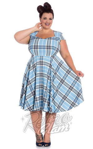 Hell Bunny Aberdeen 50s Dress in Pale Blue