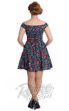 Hell Bunny April off shoulder cherry Mini Dress back