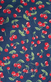 April cherry print on navy background