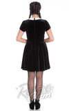 Hell Bunny alternative velvety Full Moon Mini Dress with Peter Pan collar and bat detailing back