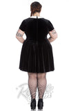 Hell Bunny Wednesday Addams velvety Full Moon Mini Dress with bat appliqué back