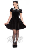 Hell Bunny gothic bat collar Full Moon velvet Mini Dress front