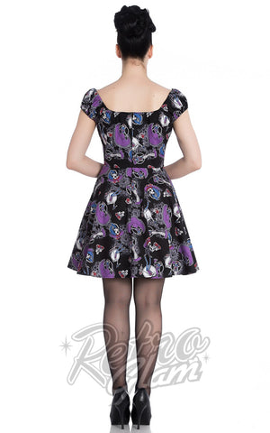 Hell Bunny peasant top Graciela Mini Dress with skeletons, flowers, candles, and filigree