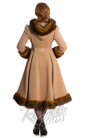 Hell Bunny Isadora Coat in Camel with Faux fur trim back