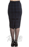 Hell Bunny navy and black Livingston pencil Skirt back