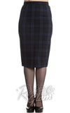Hell Bunny navy and black Livingston pencil Skirt front